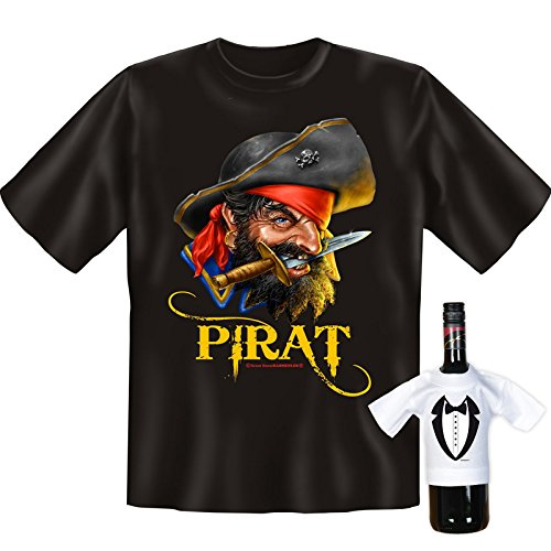 Originelles Motivshirt! T-Shirt Set für Seeräuber - Pirat! Plus einem gratis Gentleman Minishirt!