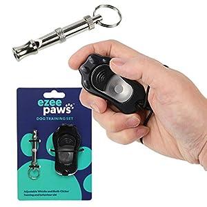 eZee'Paws Lot de Clicker de dressage de chien et sifflet   réglable et contrôle du volume   avec dragonne