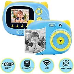 Appareil Photo Numérique Appareil Photo Instantané avec WiFi 1080P 30FPS Full HD Réglable 10 cm Mode Macro Appareil Photo à Impression Instantanée avec Lampe de Poche