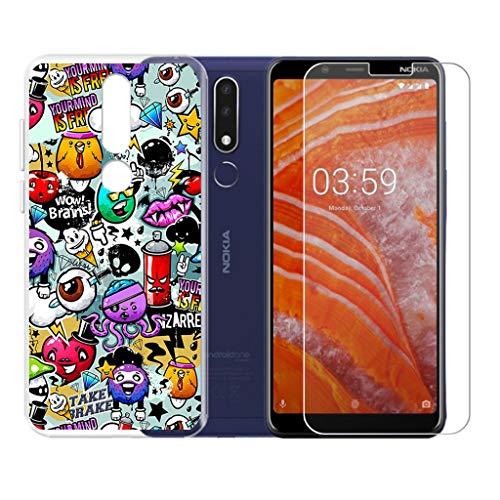 """QFSM Cover per Nokia 3.1 Plus 6.0"""" Trasparente Silicone Custodia + 1 Pack Vetro Temperato Pellicola Vetro -XS40"""