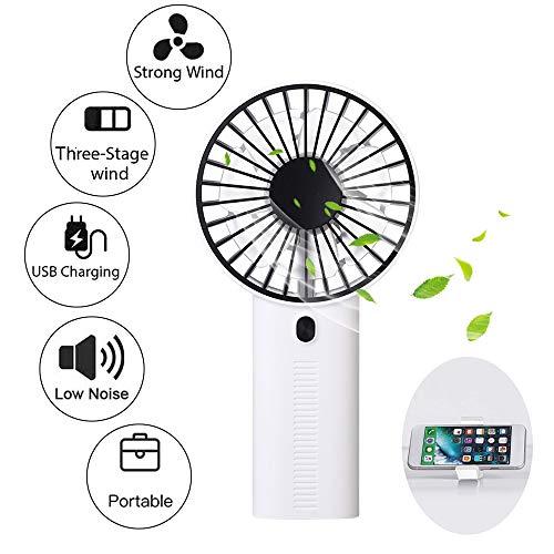 Wiederaufladbarer Mini-Handheld-Lüfter, USB Handventilator mit 3 Geschwindigkeit Wind für Büro, Haus, Reise, Camping (Fan Handheld Mini)