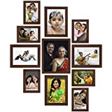 Amazon Brand - Solimo Collage Photo Frames, Set Of 11,Wall Hanging (6 Pcs - 4x6 Inch, 4 Pcs - 5x7 Inch, 1 Pc - 8x10 Inch),Brown