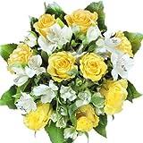 Gelbe Rosen Blumenstrauß groß, mit weißen Alstromerien - Sommerstrauß