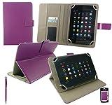 Emartbuy® CSL Panther Tab 7 Zoll Windows Tablet Universalbereich Plum Multi Winkel Folio Executive Case Cover Wallet Hülle Schutzhülle mit Kartensteckplätzes + Lila 2 in 1 Eingabestift