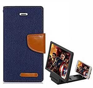 Aart Fancy Wallet Dairy Jeans Flip Case Cover for Redmi2S (NavyBlue) + 3D SCREEN MAGNIFIER - HD VIDEO AMPLIFIER - with Stylish foldable holder stand by Aart Store.