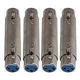 BQLZR - Adaptador de audio extensible para micrófono, micrófono, altavoz, consola de mezcla, amplificador de potencia, 4 unidades, 3 pines, hembra a hembra, color plateado