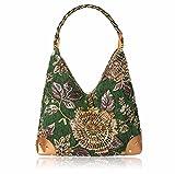 XJTNLB Hand Shoulder Shoulder Bag, spot National Wind, Antique, Embroidered Bag, Exquisite Hand-held Shoulder Bag,Green