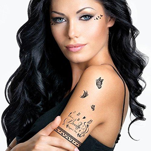 Bling Art Temporäre TattoosDurchatmen Set mit 7 Tattoos für Frauen in Schwarz