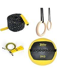 Set Crossfit Seil 9m + Ringe + Seil Gelb + Ball 2kg Fitness Fitnessstudio