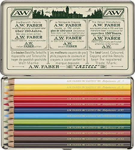 Faber-Castell 211001 - Farbstifte Polychromos, 12er Etui, 111 Jahre, in Originalaufmachung, Limitierte Auflage