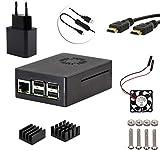 5 en 1 kit para Raspberry Pi 2, Pi 3 modelo B, 5V / 2500mA Adaptador + Cable de encendido/apagado+ABS caso negro + HDMI a HDMI Cable + ventilador + dos disipadores