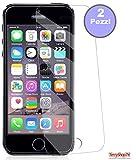 2 Pellicole in vetro compatibile per Iphone 5 compatibile per Iphone 5S compatibile per Iphone SE compatibile per Iphone Cdurezza 9H Bipack Idrorepellente oleo fobico doppio strato Pacco da 2 Pezzi