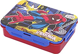 Marvel Spider Man Plastic Lunch Box Set, 3-Pieces, Multicolour (HMRPLB 00732-SPM)