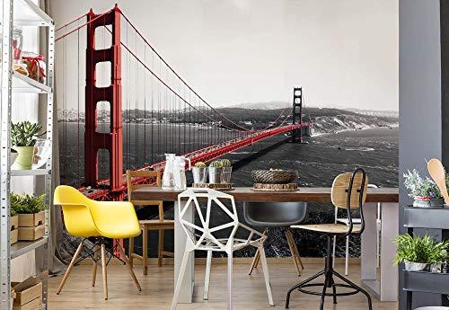 Wallsticker Warehouse Stadt Golden Gate Bridge Vlies Fototapete Fotomural - Wandbild - Tapete - 254cm x 184cm / 2 Teilig - Gedrückt auf 130gsm Vlies - 154V4 - Reisen & Welt (Stadt Tags)