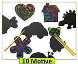 Libetui Set 10 Kratzbilder Kratz-Motive zum selbst Gestalten kreative Beschäftigung Bunte Regenbogenfarben ideal als Geschenk für Kinder Mitgebsel Kindergeburtstag