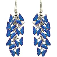 ORECCHINI FARFALLINE BLU - realizzati artigianalmente con piccole farfalle serigrafate in smalti a cottura.