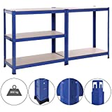 Songmics 1.5m Lagerregal Schwerlastregal Pulverbeschichtet in Blau mit MDF-Regal