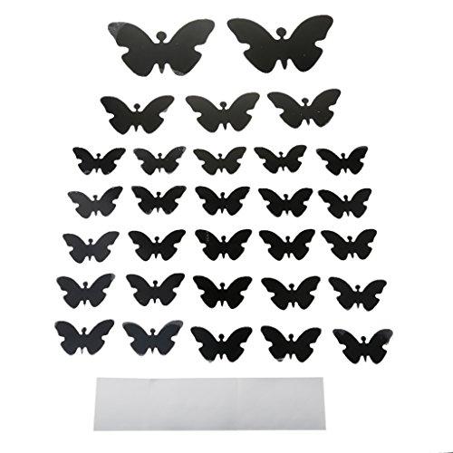 Sharplace 3D Schmetterlinge/Kreis/Blumen Spiegel Wandaufkleber - 30× Schmetterling-Schwarz