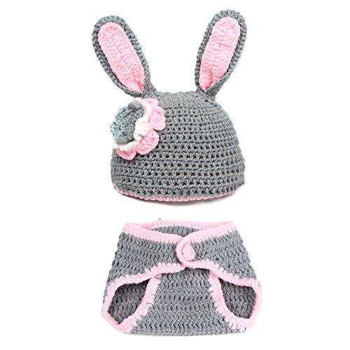 aierwish Kinder Baby Strick Mütze Fotoshooting Neugeborene Muster Design Hut Kostüm Hüte (grau)