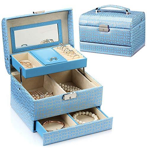 Zavddy-Cases Schmuckständer Leder Schmuck Box Organizer, Schmuck Box Schmuck Schrank Halskette Ring Armband Lagerung Ohrring-Organizer-Fach (Farbe : Blau, Größe : Einheitsgröße)