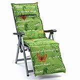 Auflagen mit Kopfpolster für Relax Liegestuhl Ibiza 40240-215 Schmetterling grün (ohne Relax)