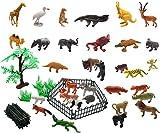 Wildtier-Spielzeug-Set, 32-teilig, Modellsammlung, Spielzeug mit Zaun und Baum, von Homgaty