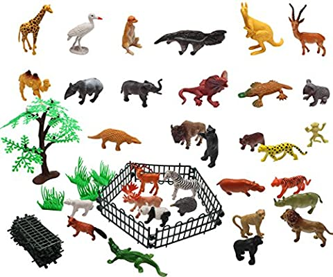 Homgaty 32Pcs Wild Animal Toys Set Display Model Collection Toy with Fence and Tree