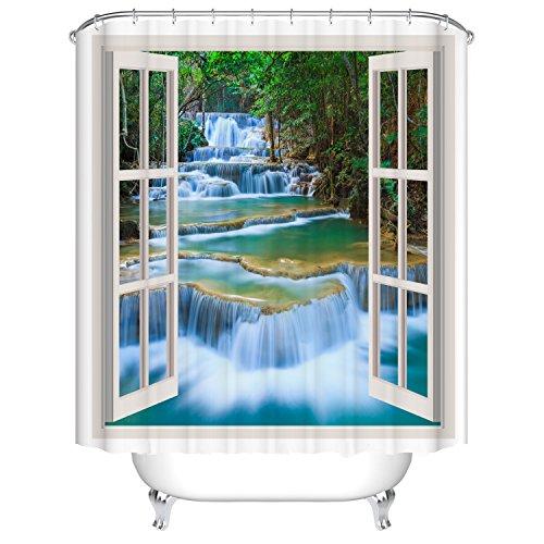 Wasserfall-Fenster Badezimmer Duschvorhang, Anti-Schimmel 100% Polyester Badewanne Duschvorhänge, 3D Effekt und Digitaldruck, Wasserdicht mit 12 weißen Haken, 180 x 180cm