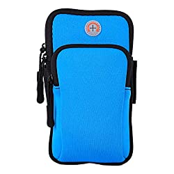 Aeoss Waterproof Sport Armband Unisex Running Jogging Gym Arm Band Case Cover for Mobile iPhone 6s 6 Plus Phones till 5.7 inches (SKY BLUE)