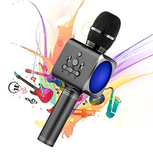 Karaoke Mikrofon Aufnahme Drahtloses Tragbares Handmikrofon Lautsprecher Wireless Bluetooth für KTV Party Familie Karaoke Microphone Kompatibel mit Android & iOS (Gray) - Familie Karaoke