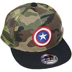 Gorra de Camuflaje para Niños Sombrero de Béisbol Niñita Niñito Gorro Trucker Bordado Visera Plana Cap Para Kids 2 3 4 5 6 Años Camuflado (verde Capitán América)