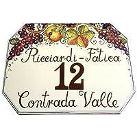 CERAMICHE D'ARTE PARRINI- Ceramica italiana artistica ,pannello numero civico 40x30 personalizzato, decorazione uva e melograno , fatto a mano made in ITALY Toscana