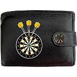 Dartboard Yellow Darts Dartscheibe Gelbe Pfeile Klassek Herren Geldbörse Portemonnaie Brieftasche aus echtem Leder schwarz Geschenk Präsent mit Metall Box