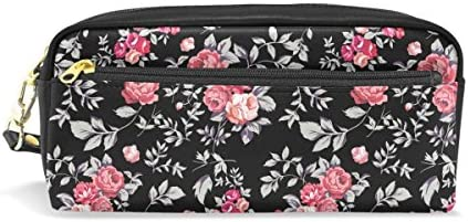 Coosun Motif rose Rose Noir Portable Portable Portable Cuir PU Trousse d'école Pen Sacs papeterie Pouch Case Grande contenance Sac de maquillage B07G11TW9J | En Vente  6a359c