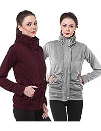 Purys Light Grey & Wine Fleece Buttoned Sweatshirts Combo of 2