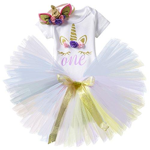 (NNJXD Mädchen Einhorn Blume Regenbogen Tutu 1. Geburtstag 3 Stück Outfits Strampler +Rock+ Gold Stirnband Größe (1) 1 Jahre Lila)