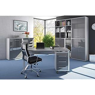 Komplettes Arbeitszimmer - Büromöbel Komplett Set Modell 2017 MAJA SET+ in Platingrau / Grauglas (SET 11)
