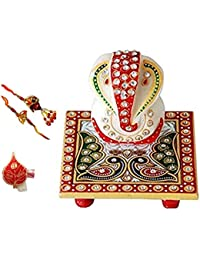 Purpledip Marble Ganesha , Set Of 2 Rakhi & Auspicious Roli Chawal In Red Paan Combo For Men & Women