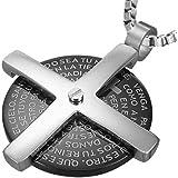 cored Edelstahl-Anhänger KAUTSCHUKKETTE 50 cm Halskette Scheibe mit Kreuz und lateinischer Inschrift Schwarz / Silber