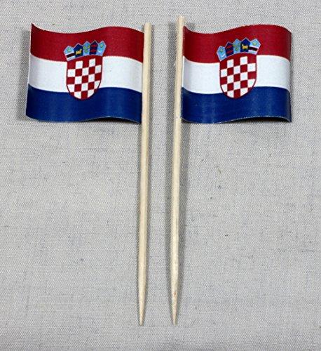 Party-Picker Flagge Kroatien Papierfähnchen in Profiqualität 50 Stück Beutel Offsetdruck Riesenauswahl aus eigener Herstellung