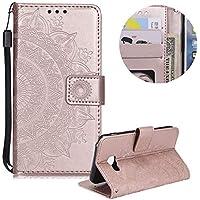Rose Gold Brieftasche für Samsung Galaxy J3 2017 J330,Gurt Leder Handyhülle für Samsung Galaxy J3 2017 J330,Moiky Ziemlich Jahrgang Mandala Blume Geprägt Klappbar Stoßdämpfende Stand Handytasche