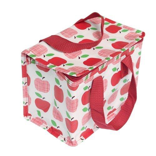 Thermobag Apple Isoliertasche Apfel weiß rot grün kleine Picknicktasche 13x21x17cm aus 90% Recycelten Material