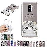 E-Mandala Samsung Galaxy J6 2018 Hülle Ultra Dünn Slim Durchsichtig Silikon Schutzhülle Handy Tasche Etui Handyhülle Transparent mit Muster - Katze