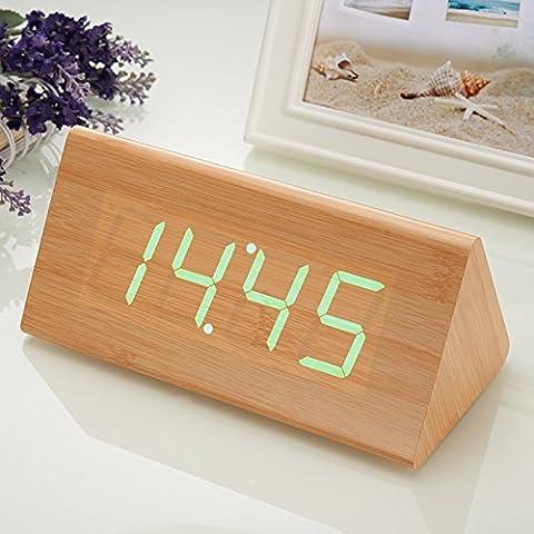 Creative silenciar el timbre del despertador cama perezoso luminiscentes y preciosa madera led moda reloj control de reloj electrónico,G