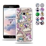Wanxideng Cover Morbida Trasparente per Samsung Galaxy A3 2017 - Custodia in Silicone TPU Custodia Ultra Sottile Leggera - Case Cover di Cristallo Chiaro con Motivi Moda - Unicorno