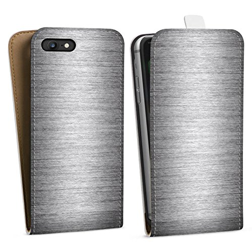 Apple iPhone X Silikon Hülle Case Schutzhülle Metal Look Silber Glitzer Metall Downflip Tasche weiß