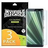 Protecteur d'écran pour Sony Xperia XZ3 (2018) Invisible Defender [Couverture intégrale][3-Pack] Garantie de couverture incurvée bord à bord [Compatible avec Coque] Protecteur d'écran Film Super mince