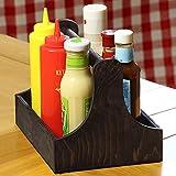 Menage aus Kiefernholz, 25 x 18 x 18 cm, ein praktischer Tisch-Organiser, für Gewürze und Soßen Flaschen