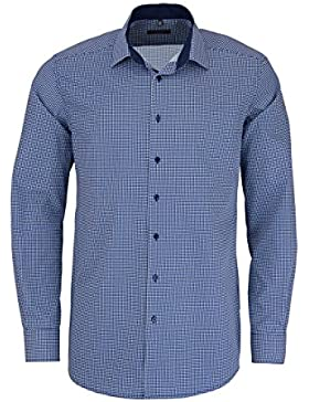 ETERNA Modern Fit Hemd extra langer Arm Patch Muster dunkelblau AL 68