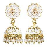 Sansar India Meenakari Indische Jhumki Ohrringe für Frauen Weiß
